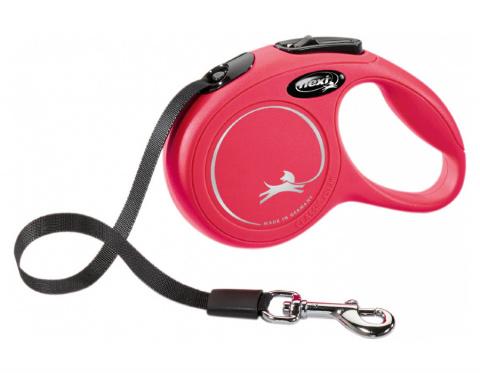 Поводок-рулетка для собак – Flexi New Classic Tape Leashes XS 3 м, Red title=