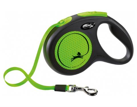 Inerces pavada suņiem – Flexi New Neon Tape M 5 m, Green title=