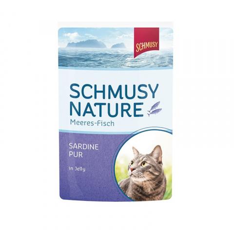 Konservi kaķiem - Schmusy Fish Sardine in Jelly, 100 g title=