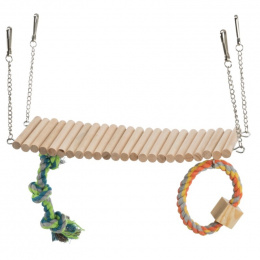 Rotaļu tilts grauzēju būrim – Trixie, Suspension bridge with rope and toy, 30 x 17 x 9 cm