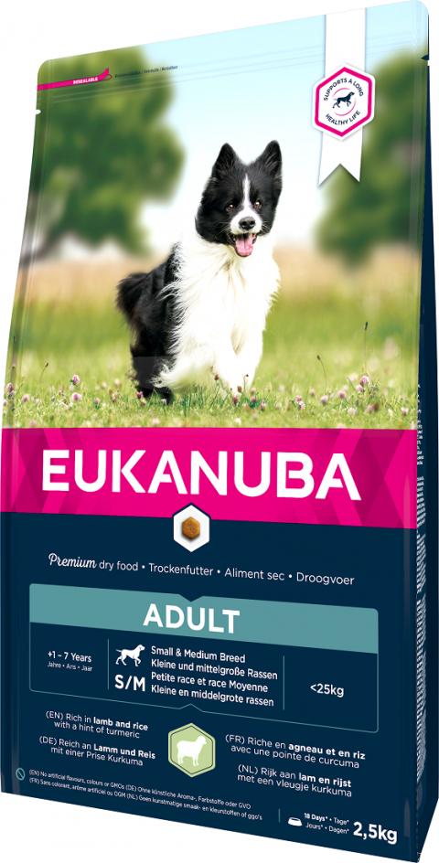 Barība suņiem – Eukanuba Adult Lamb and Rice, 2,5 kg title=