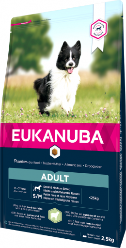 Barība suņiem – Eukanuba Adult Lamb and Rice, 2,5 kg