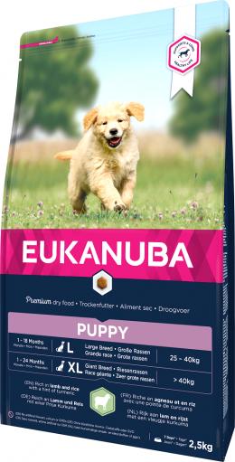 Barība suņiem - Eukanuba Puppy & Junior Lamb & Rice, 2,5 kg