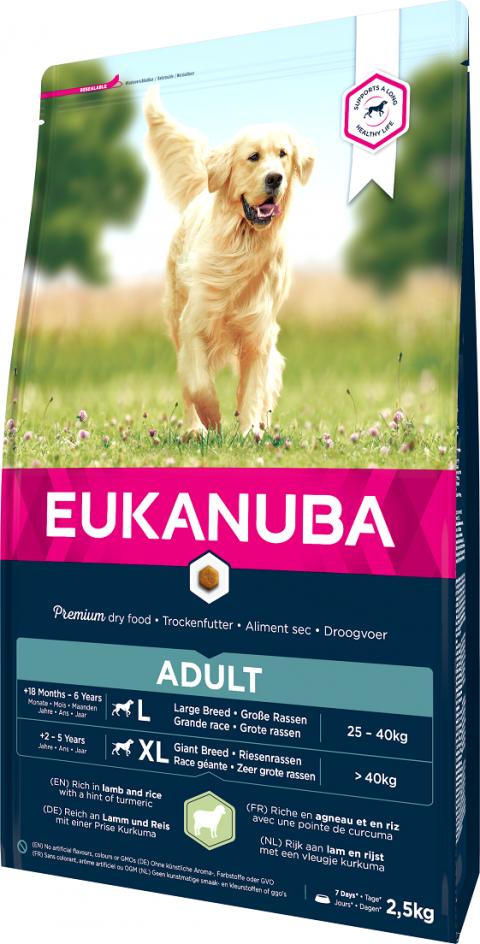 Barība suņiem – Eukanuba Adult Large Breed Lamb and Rice, 2,5 kg title=