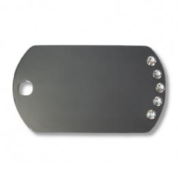 Медальон - Diva Military Tag, Черный с белыми кристаллами
