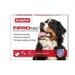 Препарат против блох, клещей для собак – Beaphar Fiprotec dog, 40–60 кг, 1 пипетка, безрецептурный препарат, reģ. NR. VA - 072463/3