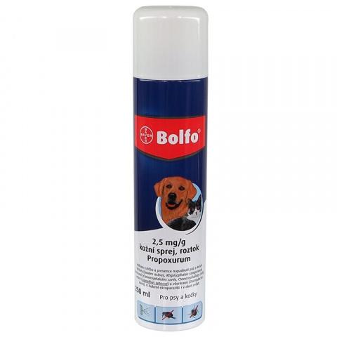 Līdzeklis pret blusām, ērcēm kaķiem un suņiem - Bolfo aerosols, Propoksūrs 2,5 mg, bezrecepšu vet.zāles lic.nr: VA - 072463/3 title=