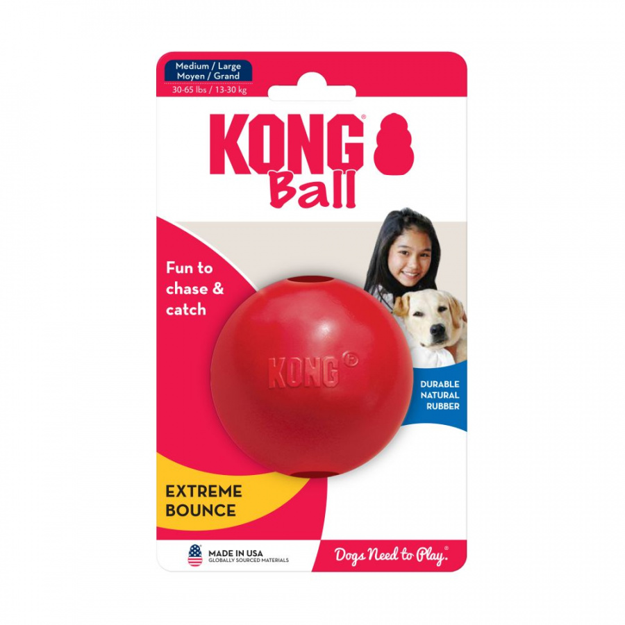 Игрушка для собак – KONG Ball, M/L, Red