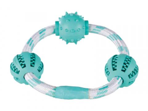 Rotaļlieta suņiem – TRIXIE Mintfresh Rope ring with balls, rubber, 20 cm title=