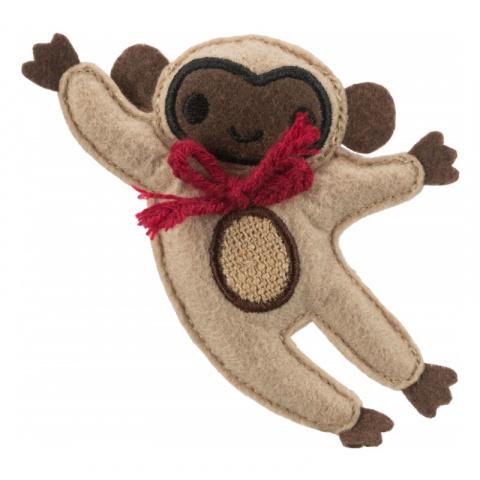 Игрушка для кошек – TRIXIE Jute/fabric Monkey, catnip, 12 см title=