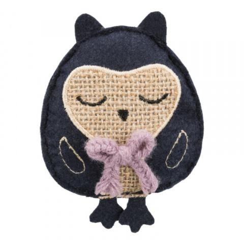 Игрушка для кошек – TRIXIE Jute/fabric Owl, catnip, 11 см title=