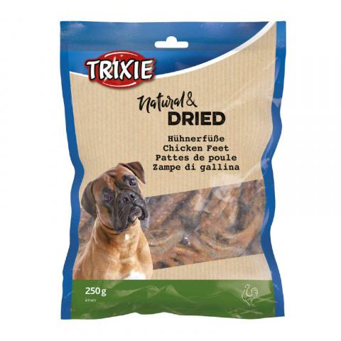 Лакомство для собак – TRIXIE Chicken feet, dried, 250 г title=