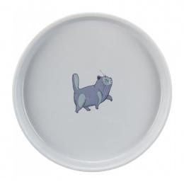 Миска для кошек – TRIXIE Ceramic bowl, flat and wide, 0,6 л/23 см, grey