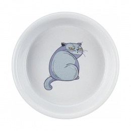 Миска для кошек – TRIXIE Ceramic bowl, with motif, 250 мл, 13 см, grey