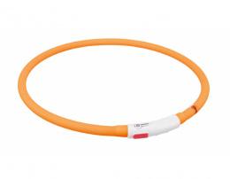 Atstarojoša kaklasiksna suņiem – TRIXIE Flash light ring USB, XS–XL: 70 cm, orange