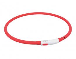 Atstarojoša kaklasiksna suņiem – TRIXIE Flash light ring USB, XS–XL: 70 cm, red