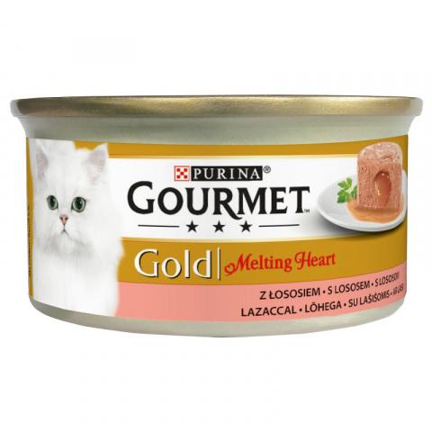 Konservi kaķiem – Gourmet Gold Melting Heart Salmon, 85 g title=