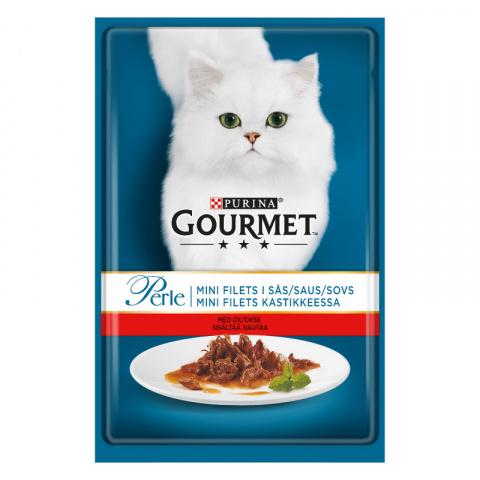 Konservi kaķiem – Gourmet Perle Beef in Gravy, 85 g title=