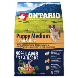 Barība kucēniem - ONTARIO Puppy Medium Lamb & Rice, 2,25 kg