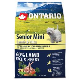 Barība suņiem – ONTARIO Senior Mini Lamb and Rice, 2,25 kg
