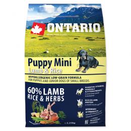 Barība kucēniem - ONTARIO Puppy Mini Lamb & Rice, 2,25 kg