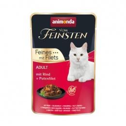 Консервы для кошек – VomFeinsten Pouch with Beef + turkey filet, 85 г