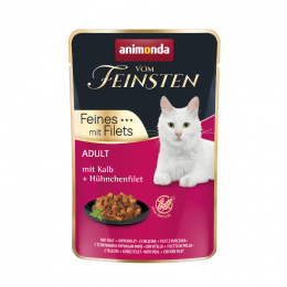 Консервы для кошек – VomFeinsten Pouch with Veal + chicken filet, 85 г