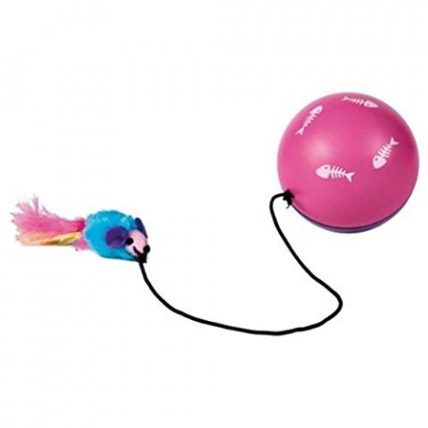 Rotaļlieta kaķiem - Trixie, Turbinio ball with motor and mouse, 9 cm
