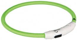 Atstarojošā kakla siksna suņiem - USB Flash Light Ring, 45cm/7mm, zaļa