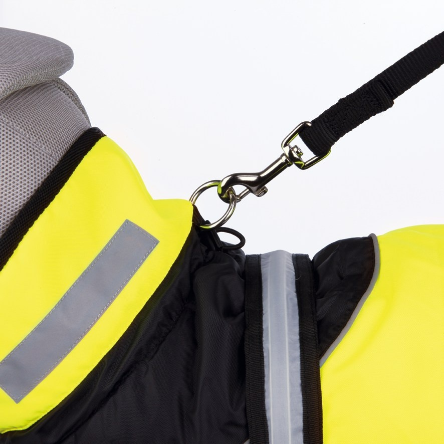 Apģērbs suņiem - Trixie Safety Flash coat, M, 45 cm, (melna/dzeltena)