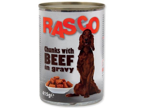 Konservi suņiem - Rasco Beef pieces in gravy, 415 g