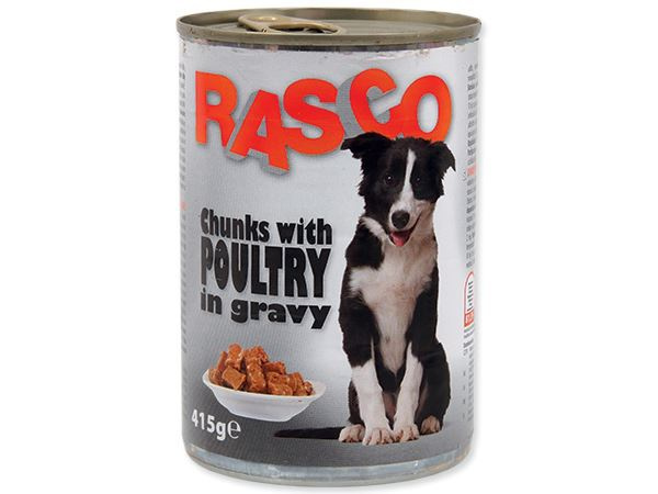Konservi suņiem - Rasco Poultry pieces in gravy, 415g