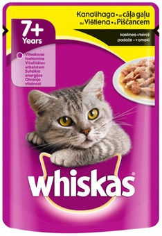 Konservi kaķiem - Whiskas 7+ years with chicken 100g