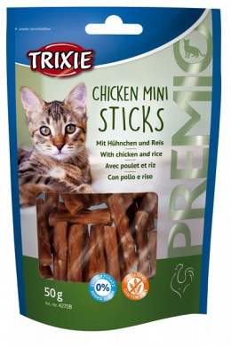 Gardums kaķiem - Premio mini sticks chicen/rice,50g