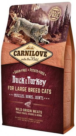 Barība kaķiem - CARNILOVE Adult Large Breed Cats Muscles, Bones, Joints, Duck and Turkey, 2 kg