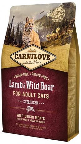 Barība kaķiem - CARNILOVE Adult Cats Sterilised, ar jēra un mežacūkas gaļu, 2kg