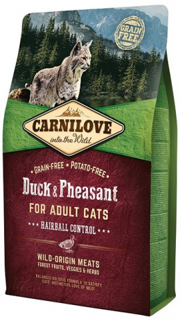 Barība kaķiem – CARNILOVE Adult Cats Hairball Control, Duck and Pheasant, 2 kg
