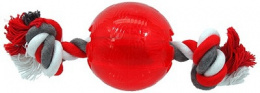 Rotaļlieta suņiem - DogFantasy Good's Rubber Strong ball with rope, 8.2cm, krāsa - sarkana