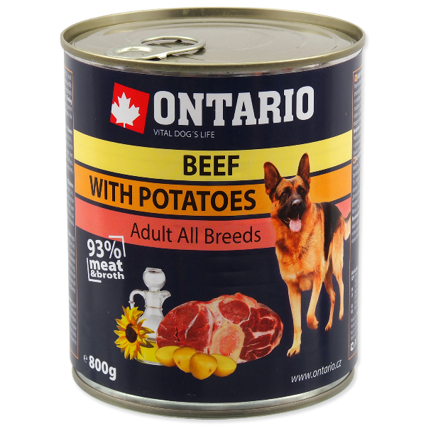 Konservi suņiem - Ontario Adult Beef & Potatos, Sunflower Oil, 800g