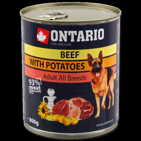 Konservi suņiem - Ontario Adult Beef and Potatos, Sunflower Oil, 800 g title=