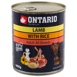 Konservi suņiem - Ontario Adult Lamb & Rice, Sunflower Oil, 800g