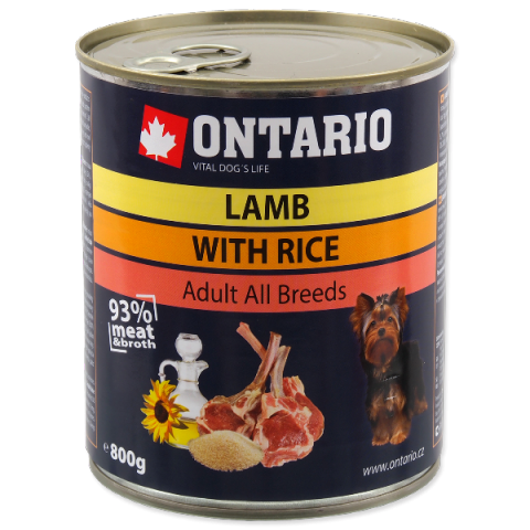 Konservi suņiem - Ontario Adult Lamb and Rice, Sunflower Oil, 800 g title=