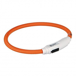 Gaismu izstarojoša kakla siksna - Trixie USB Flash Light Ring, 35 cm