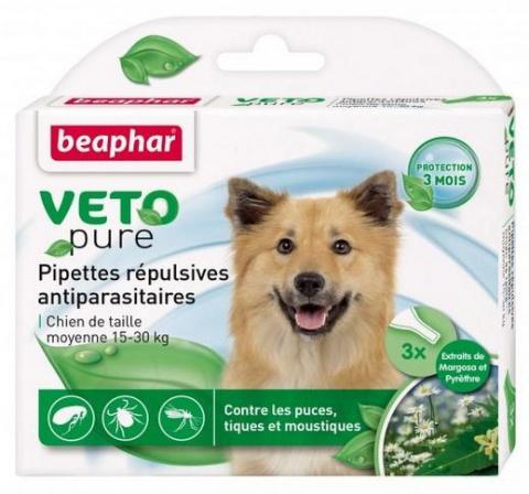 Līdzeklis pret blusām, ērcēm, odiem suņiem, 15-30kg - Beaphar Veto pure Spot on, 3 gab. title=