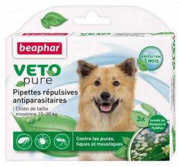 Līdzeklis pret blusām, ērcēm, odiem suņiem, 15-30kg - Beaphar Veto pure Spot on, 3 gab