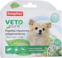 Līdzeklis pret blusām, ērcēm, odiem suņiem, līdz 15 kg - Beaphar Veto Pure Spot on, 3 gab