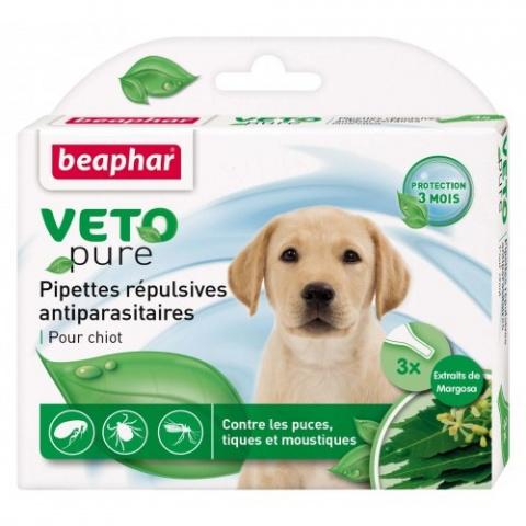 Līdzeklis pret blusām, ērcēm, odiem kucēniem - Beaphar Spot on Veto pure, 3 gab. title=