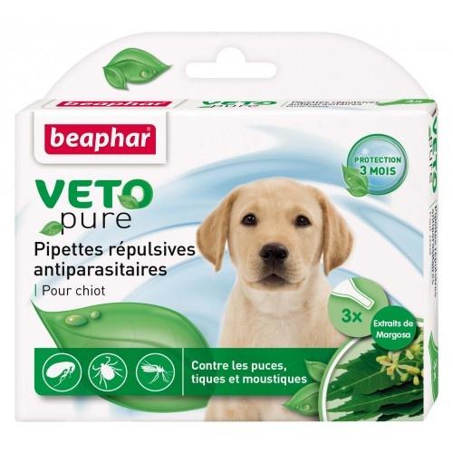 Līdzeklis pret blusām, ērcēm, odiem kucēniem - Beaphar Spot on Veto pure, 3 gab.