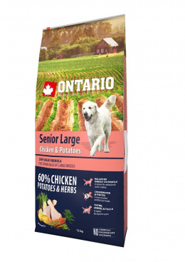 Barī­ba suņiem - ONTARIO Senior Large Chicken & Potatoes, 12 kg
