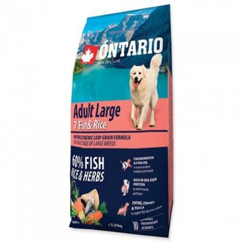 Barība suņiem - ONTARIO Adult Large Fish & Rice 12kg